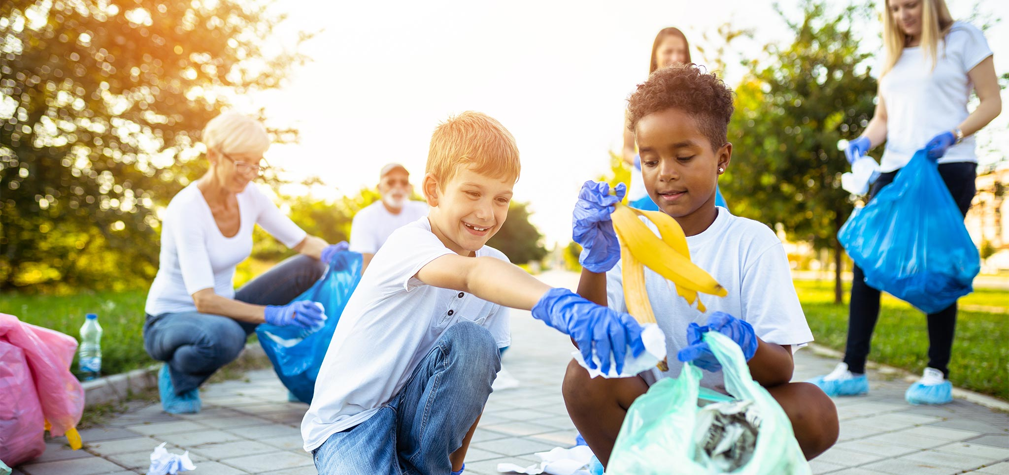 Children looking way too interested in picking garbage